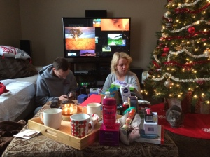 Reba Christmas in the background - the aftermath of present time.