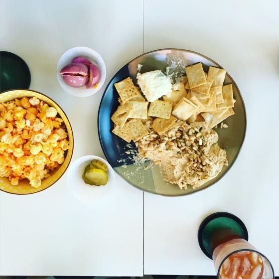 charcuterie plate with mom's homemade hummus